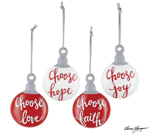 Red and White Flat Ball Ornament with Christmas Messages (Choice of Four)