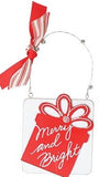 Assorted Red and White Ornaments with Christmas Messages
