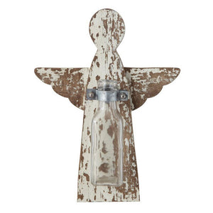Angel Wall Decor with Glass Vase, Distressed White Finish