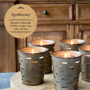 Apothecary Candle in Olive Bucket