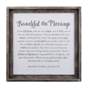"""Beautiful the Marriage"" Framed Fabric Board"