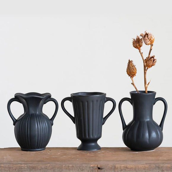 Black Ceramic Vases (choice of three styles)