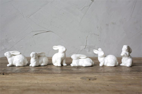 White Ceramic Bunnies (set of 6)