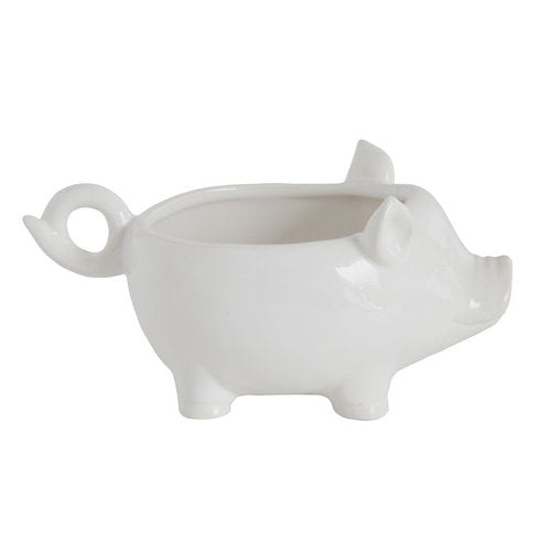 Ceramic White Pig Bowl