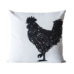 Cotton Embroidered Rooster Pillow