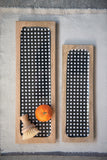 Black Gingham Enameled Mango Wood Trays (Set of 2 Sizes)