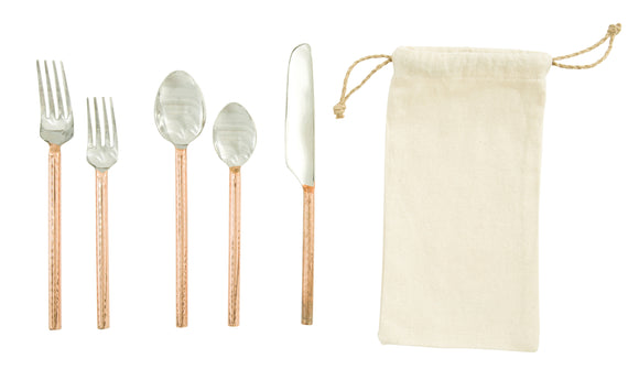 Stainless Steel Flatware Set with Copper Finished Handles (Set of 5 Pieces in Drawstring Bag)