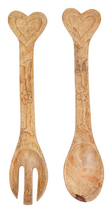 Hand-Carved Mango Wood Salad Servers with Heart Handles (Set of 2 Pieces)