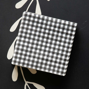 Black and White Gingham Check Beverage Napkins