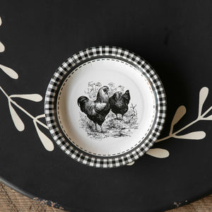 Black and White Rooster Paper Plate - Salad and Dessert