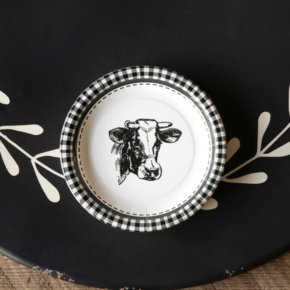 Black and White Cow Paper Plate - Salad and Dessert