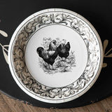 Black and White Rooster Paper Plate - Dinner
