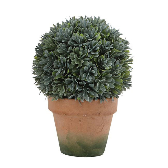Faux Boxwood Round Topiary in Clay Pot