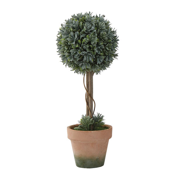 Faux Boxwood Single Ball Topiary in Clay Pot