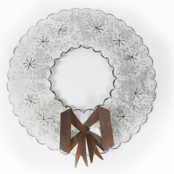 Galvanized, Whitewashed Metal Wreath