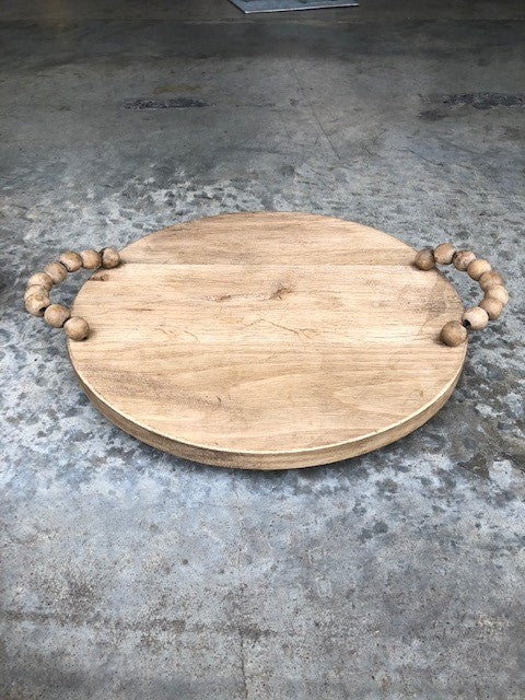 Wooded Tray with Beaded Handles