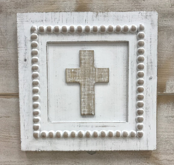 Wooden Cross Plaque with Beaded Trim