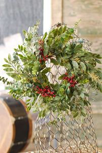 "20"" Faux Eucalyptus and Seeds Wreath"