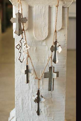 Cross Garland with Assorted Metal Crosses