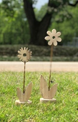 Wood Flower on Stand