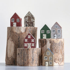 Handmade Mango Wood Houses, Set of 6