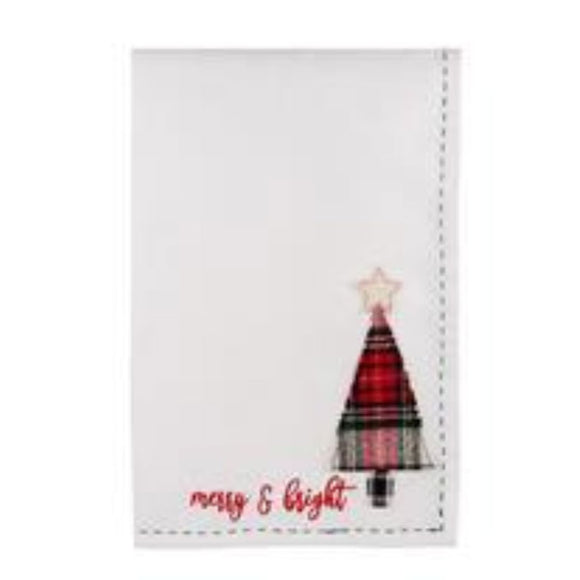 Merry & Bright Plaid Tree Tea Towel