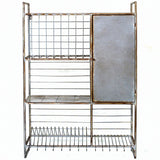 Metal Wall Rack w/Shelves and Hooks