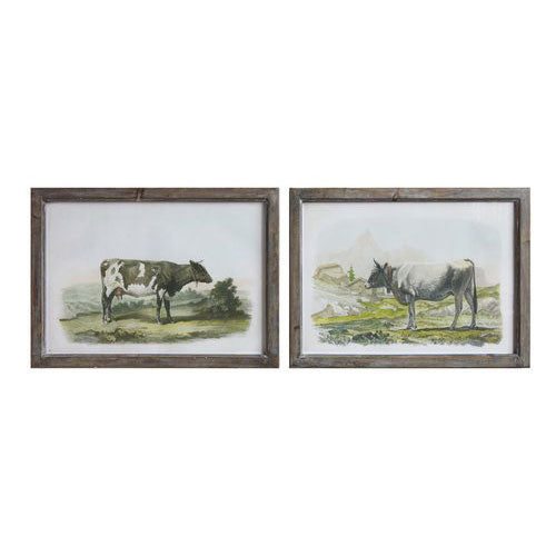 Wood Framed Wall Decor w/Cow (Set/2)