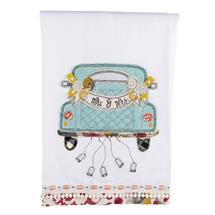Mr and Mrs Wedding Car Tea Towel