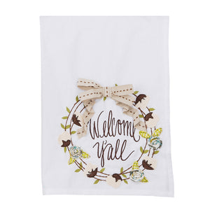 Welcome Y'all Wreath Tea Towel