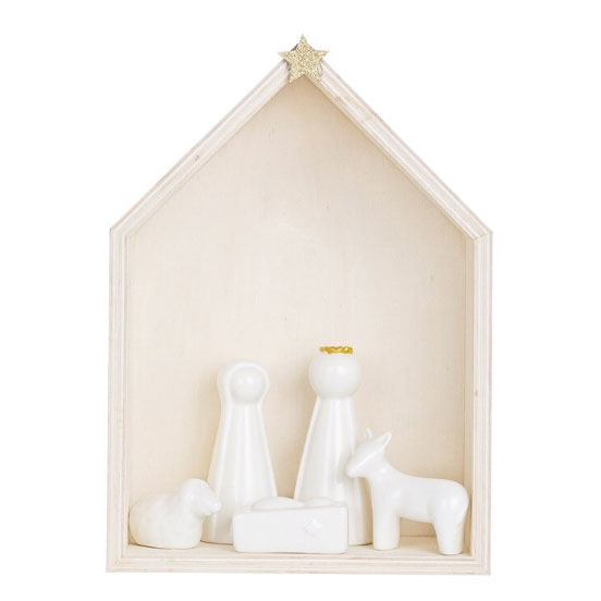 Wood and Ceramic Nativity, Set of 6