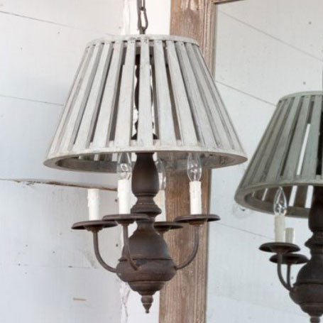 Wooden Shaded Pendant Light Fixture