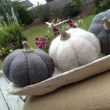 Round Wool Pumpkin with Resin Stem (Choice of two colors)