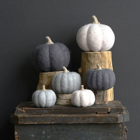 Wool Felt Pumpkin with Resin Stem (choice of color)