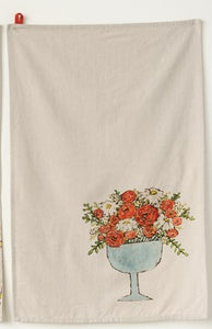 Cotton Tea Towels with Flowers, Choice of Three Styles