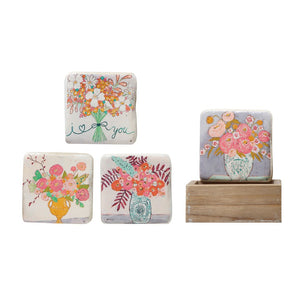 Coasters with Flowers in Wood Box