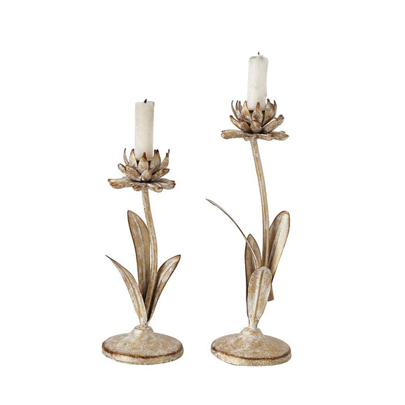 Metal Flower Taper Holders, White with Gold Finish, Set of 2