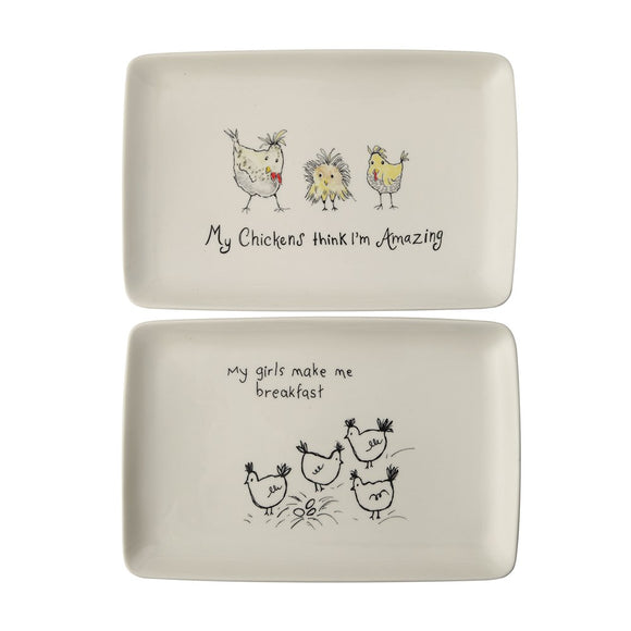 Stoneware Platter with Chickens (2 Styles)
