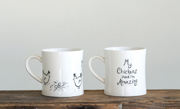 Stoneware Mugs with Chickens (2 Styles)