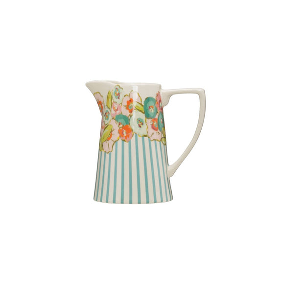 Stoneware Pitcher with Flowers and Blue Stripes