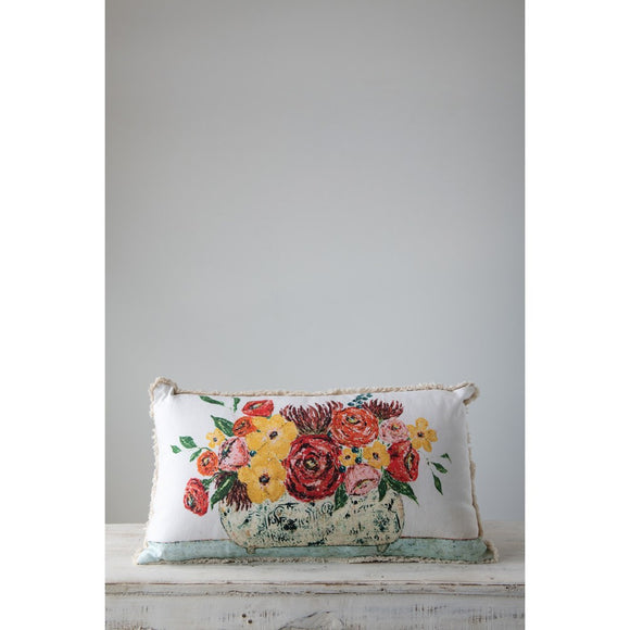 Flower and Vase Print Lumbar Pillow with Fringe