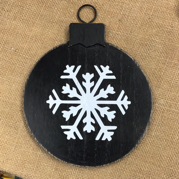 Round Wood  Snowflake Ornament