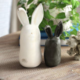 Black and White Stoneware Rabbits (set of 2)