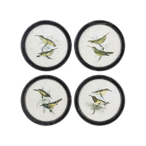Round Wood Bird Wall Decor (Set/4)