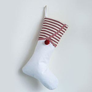 Cotton Stocking with Red Striped Cuff and Red Pom Pom
