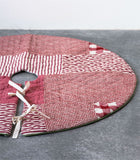 Round Cotton Quilted Patchwork Tree Skirt, Red and Cream
