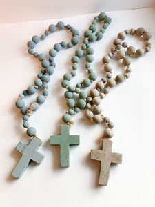 Wooden Prayer Beads With Cross (Choice of Three)