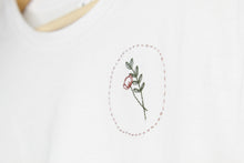 Load image into Gallery viewer, Poppy & Leaves Hand Embroidered T-Shirt
