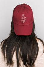 Load image into Gallery viewer, Burgundy Daisy Floral Hand Embroidered Dad Hat
