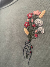 Load image into Gallery viewer, Hand & Flower Bouquet Embroidered Cropped Fleece Hoodie
